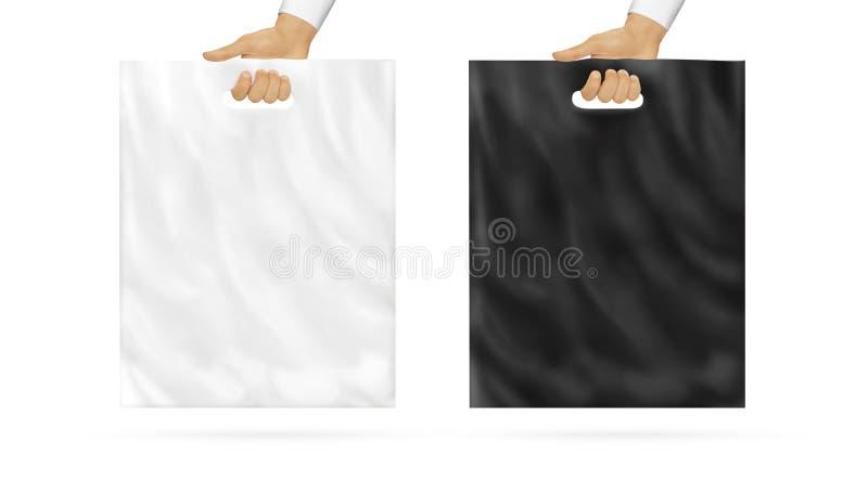 Tenencia instalada en blanco de la mofa de la bolsa de plástico disponible fotografía de archivo