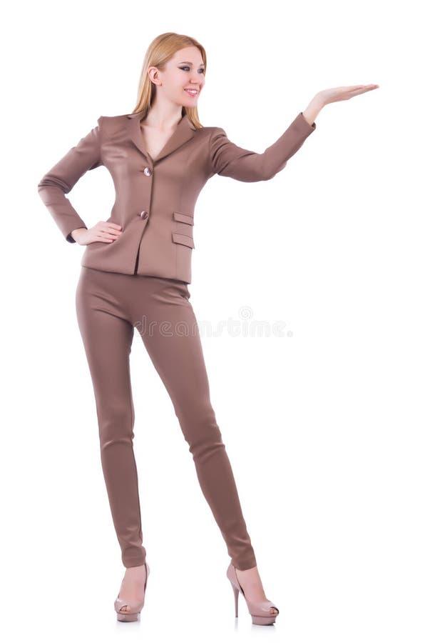Tenencia joven de la mujer de negocios aislada en blanco fotografía de archivo