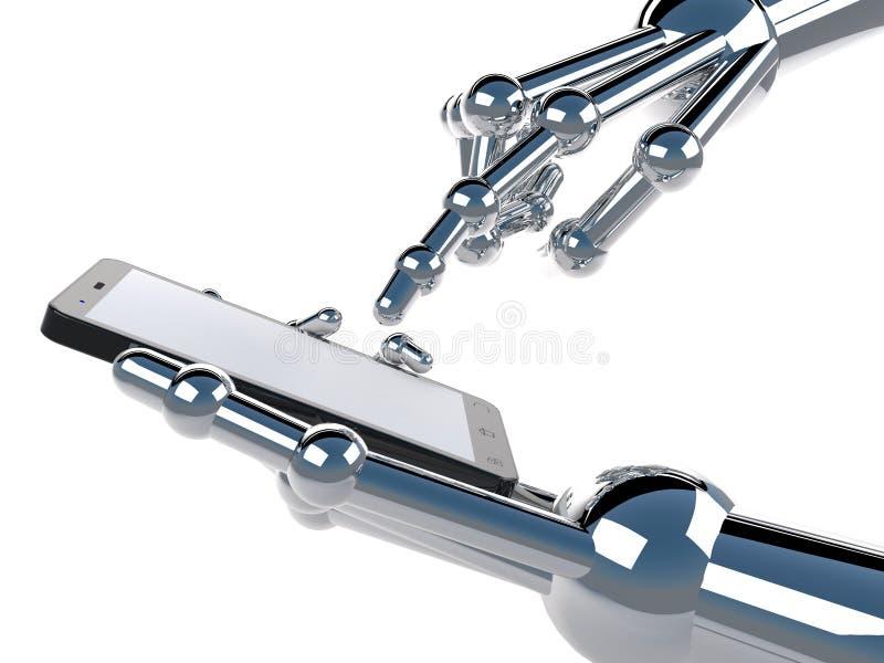 Tenencia y tacto robóticos de la mano en Smartphone negro con la pantalla en blanco fotografía de archivo libre de regalías