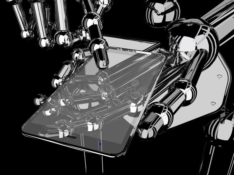 Tenencia y tacto robóticos de la mano en Smartphone transparente stock de ilustración