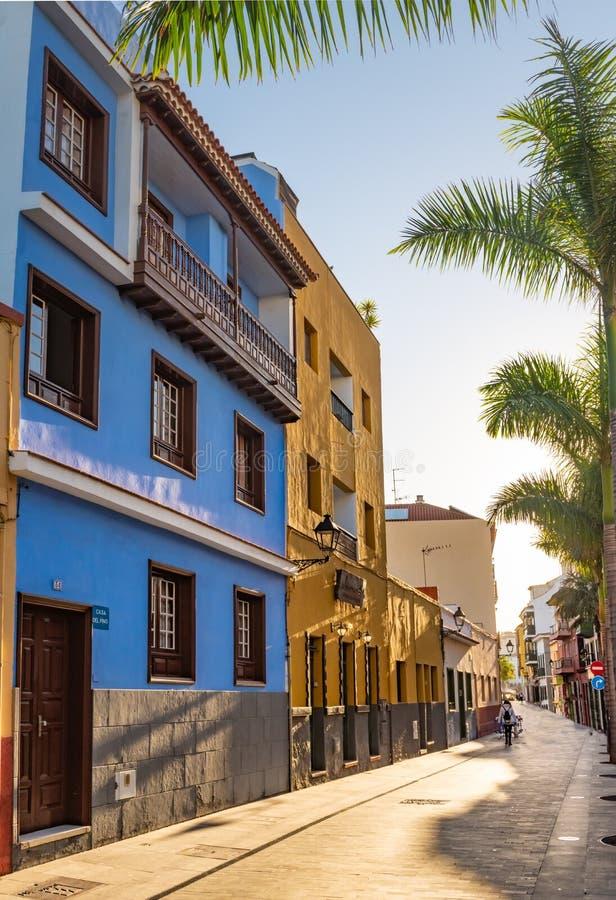 tenerife Ζωηρόχρωμοι σπίτια και φοίνικες στην οδό Puerto de Λα Cruz στην πόλη στοκ εικόνα με δικαίωμα ελεύθερης χρήσης