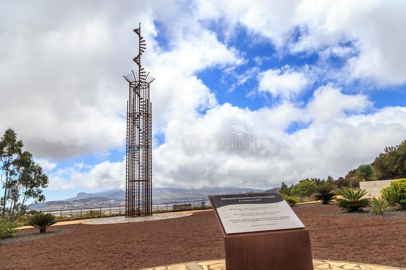 Tenerife air disaster memorial. Memorial memorating the 1977 air disaster on Tenerife, where two 747 aircraft KLM and PanAm collided in foggy weather and 583 stock images