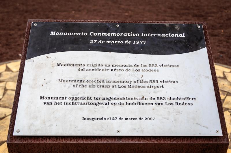 Tenerife air disaster memorial plaque. Memorial plaque memorating the 1977 air disaster on Tenerife, where two 747 aircraft KLM and PanAm collided in foggy royalty free stock images