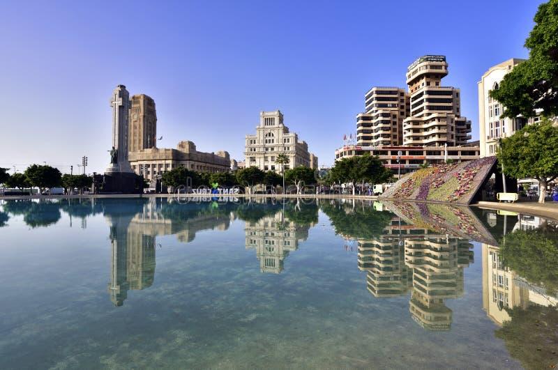 TENERIFE 19 APRIL: Vierkant van Spanje in het centrum van Santa Cruz c royalty-vrije stock afbeeldingen
