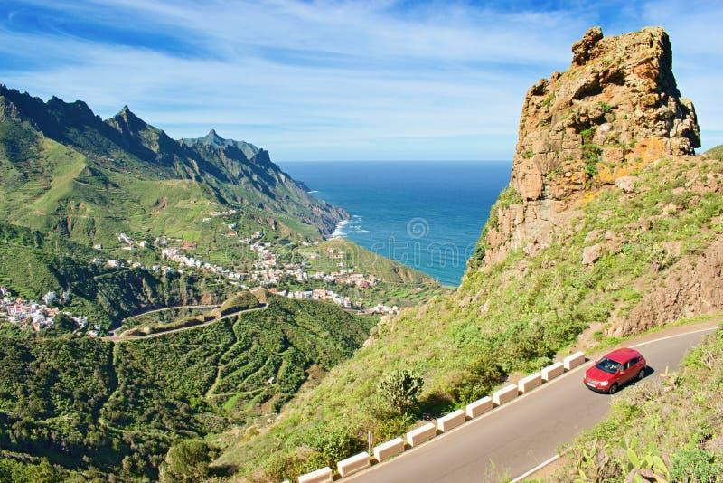 Tenerife, Canary Islands, Spain. Western coast view, mountain Anaga and village Taganana stock image