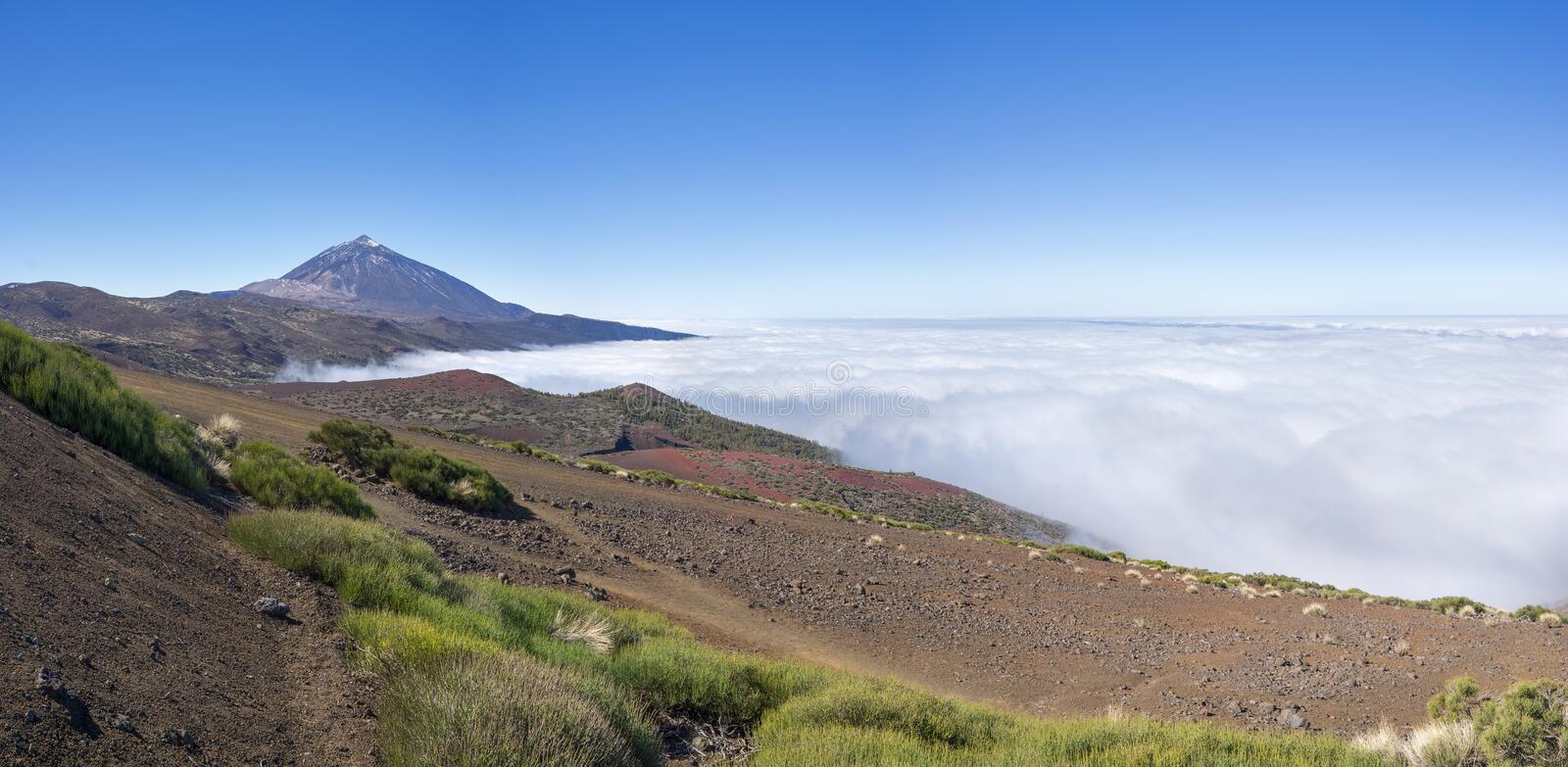 Tenerife - Teide above the sea of clouds in the national park. Tenerife, Canary Islands - Volcano Teide above the sea of clouds in the national park royalty free stock photography