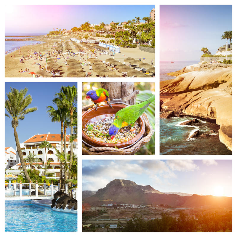 Tenerife Collage, Sunny beach travel vacation. Sunny summer beach travel vacation. Collage with popular types of Tenerife, Canary Islands, Spain. Sandy beach stock photography