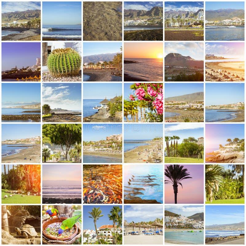 Tenerife Collage, Sunny beach travel vacation. Sunny summer beach travel vacation. Collage with popular types of Tenerife, Canary Islands, Spain. Sandy beach stock photo