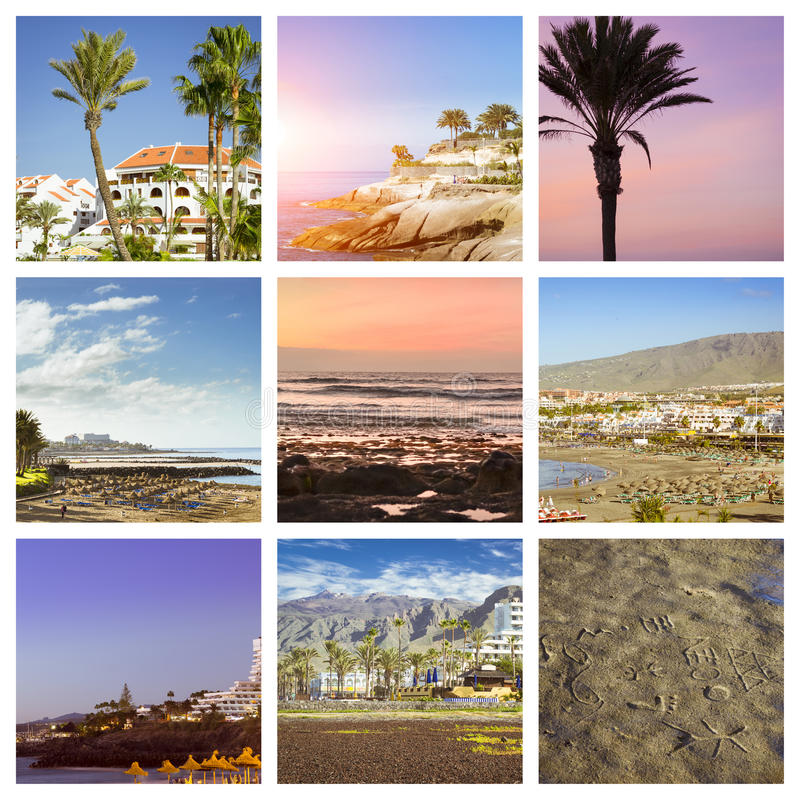 Tenerife Collage, Sunny beach travel vacation. Sunny summer beach travel vacation. Collage with popular types of Tenerife, Canary Islands, Spain. Sandy beach royalty free stock image