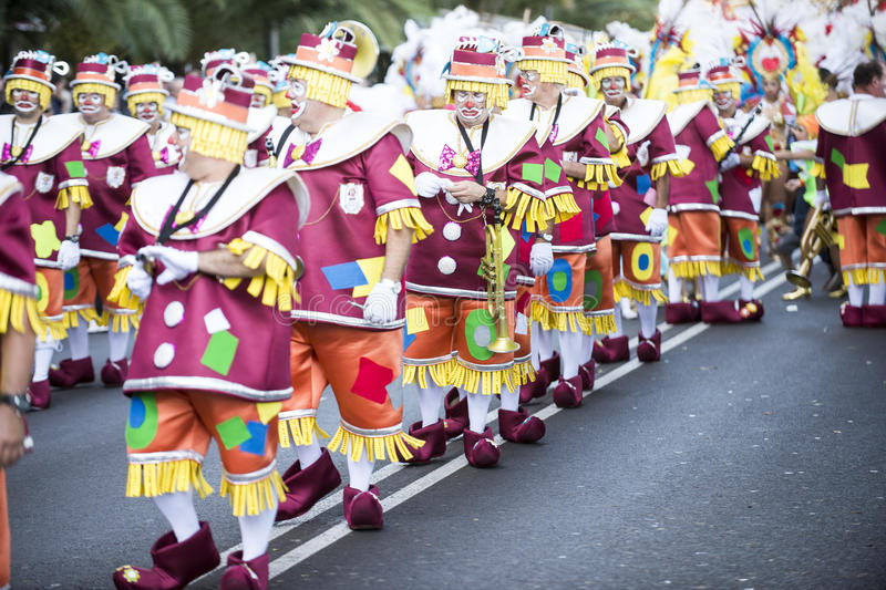 TENERIFE, FEBRUARY 9: Characters and Groups in The Carnival royalty free stock image