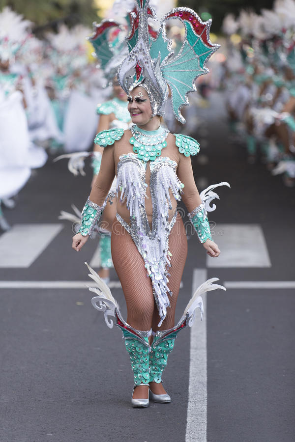 TENERIFE, FEBRUARY 9: Characters and Groups in The Carnival royalty free stock photo