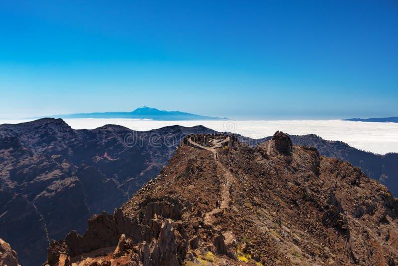Tenerife and Gomera view from La Palma stock photos