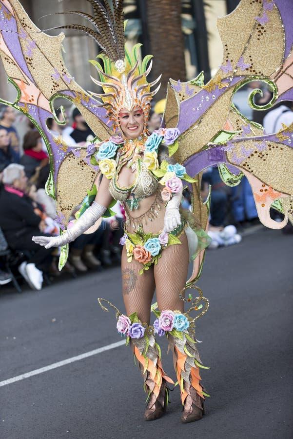 TENERIFE, O 9 DE FEVEREIRO: Caráteres e grupos no carnaval fotografia de stock