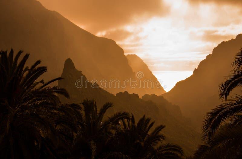 Tenerife op zonsondergang royalty-vrije stock foto's