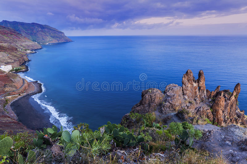 Tenerife panorama at dusk royalty free stock images