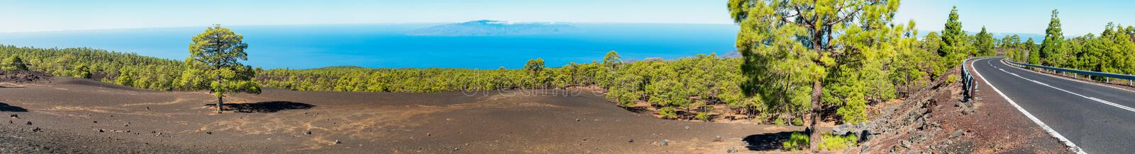 Tenerife, panoramic view of mountain road to Teide Volcano royalty free stock photography