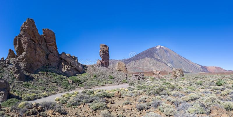Tenerife - Roques de Garcia with Teide. Rock formation Roques de Garcia with Teide in the national park of Tenerife, Canary Islands, Spain stock photos
