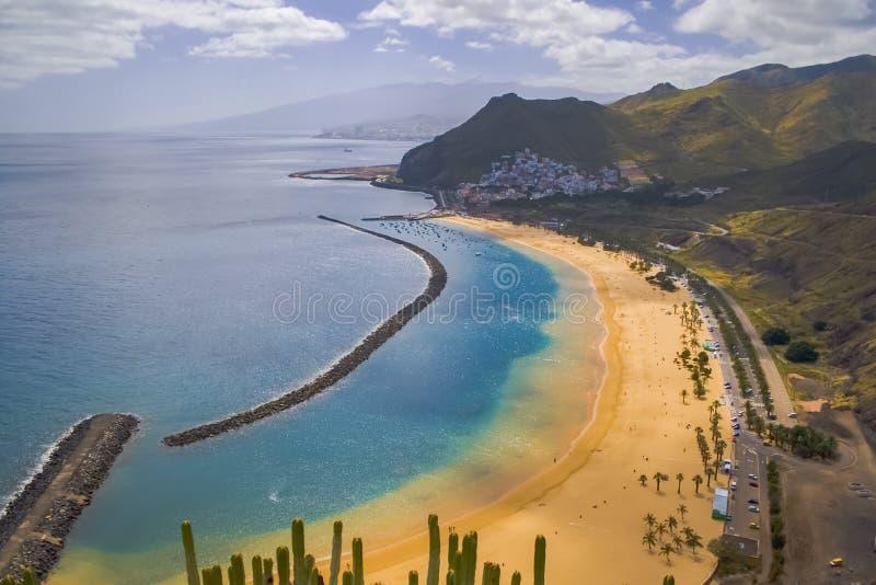 Tenerife Santa Cruz Teresitas Złota plaża zdjęcia stock