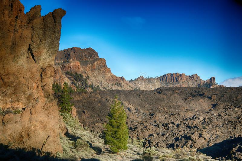 Tenerife sikt runt om Boca Tauce, montering Teide royaltyfri bild