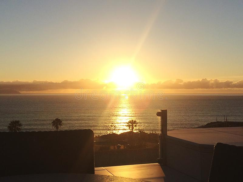 Tenerife solnedgång royaltyfri fotografi