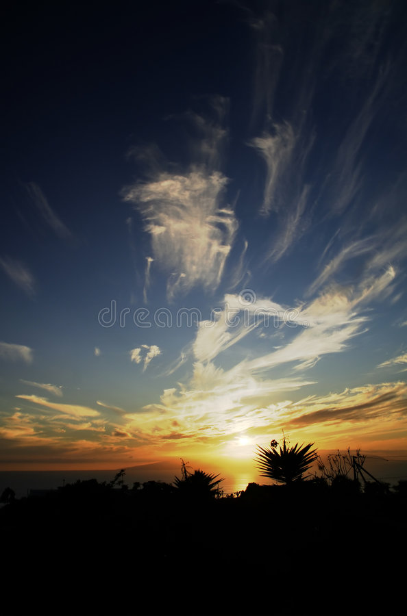 Tenerife-Sonnenuntergang stockfotografie