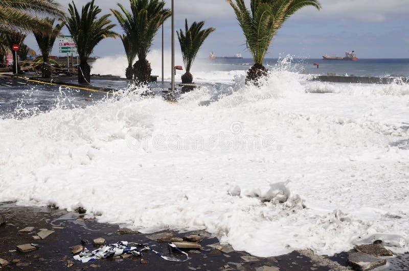 TENERIFE, SPAGNA - 29 AGOSTO: Inondazione fotografia stock