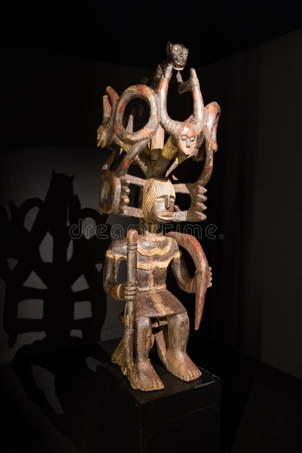 Tenerife, Spain - February 8 2019 : African tribal wooden hand carved mask at African tribal culture exhibition. stock image