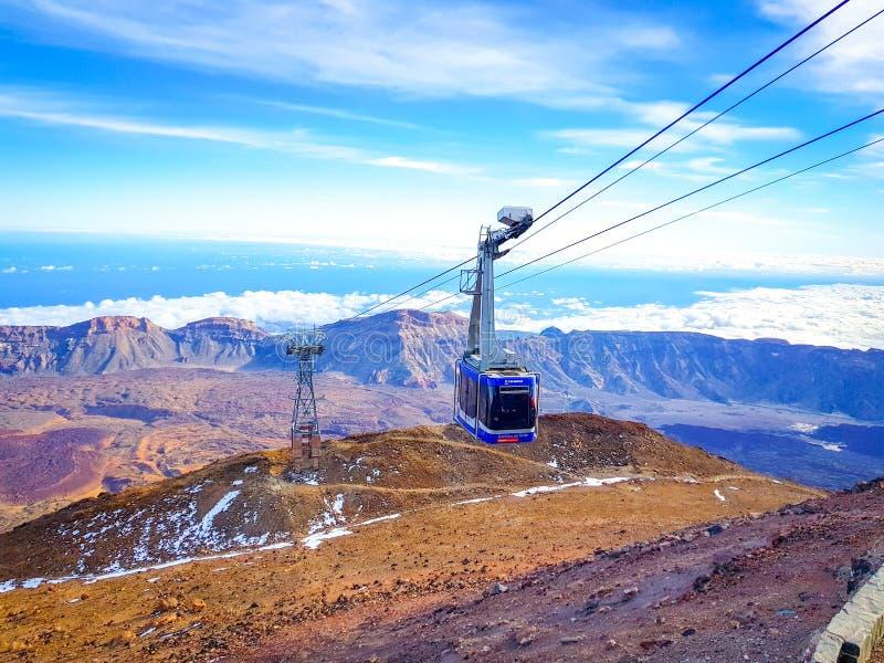 """Tenerife, Spain""; 02-15-2019: Imagen do teleférico de Teide foto de stock royalty free"