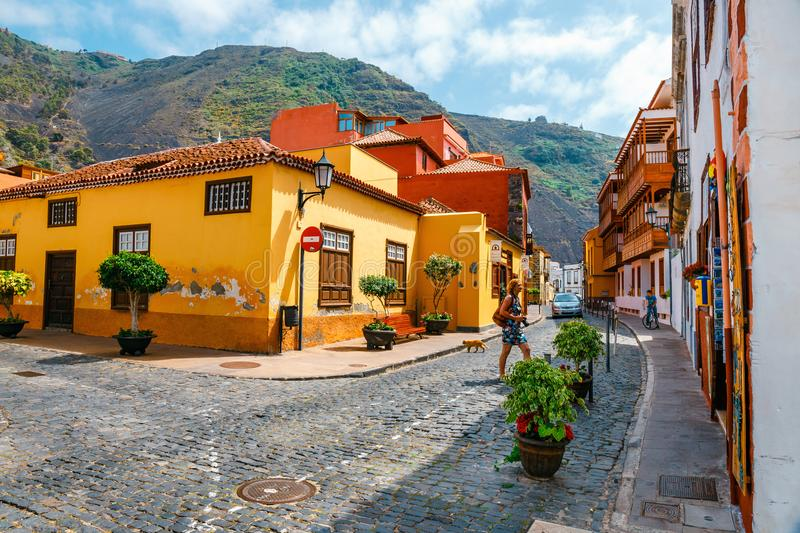 Colorful buildings on the streets of Garachico, Tenerife, Canary Islands, Spain. Tenerife, Spain, June 08, 2015: Colorful buildings on the streets of Garachico stock photo