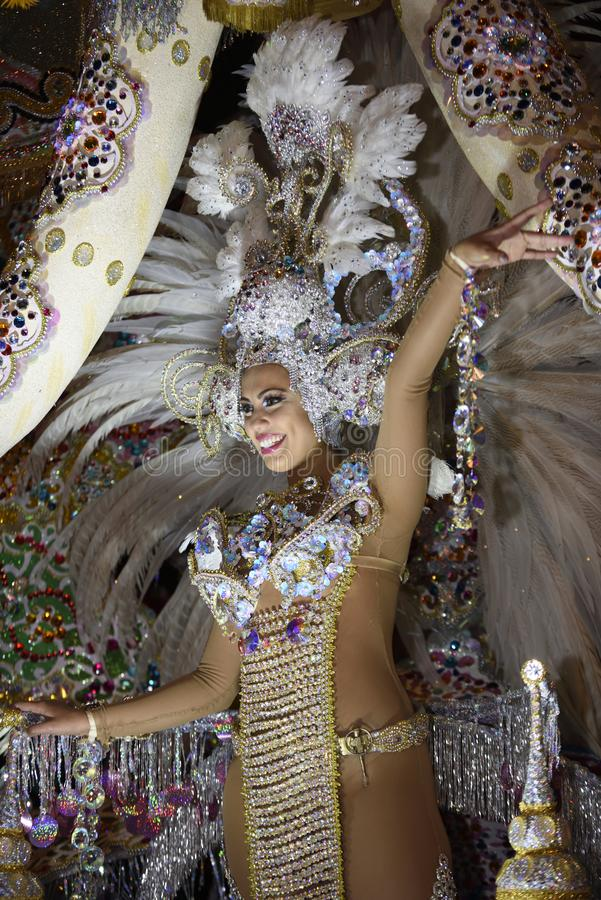 TENERIFE, MARCH 2: Great parade on the street announcing that Carnival is coming. March 2, 2019, Tenerife Canary Islands Spain stock photography