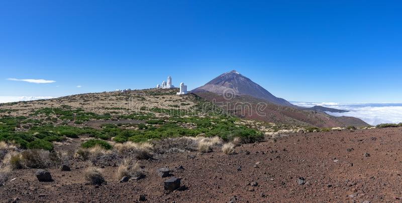 Tenerife - Teide Observatory with Teide. Tenerife, Canary Islands - Teide Observatory with mountain Teide in the national park royalty free stock photography
