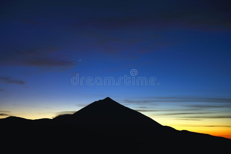 Tenerife , teide. Sunset whit the moon stock photo
