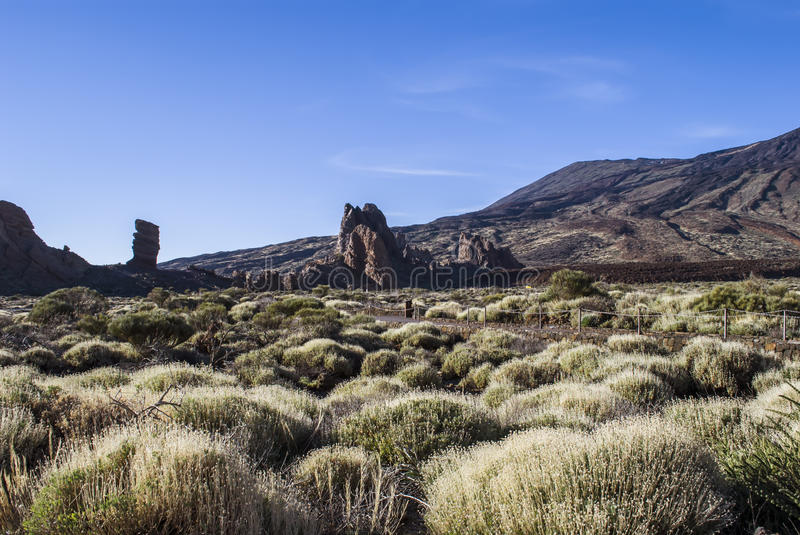 Tenerife, Teide. Volcanic landscape - no people - blue sky - Teide National Park, Tenerife, Canary Islands, Spain stock photo