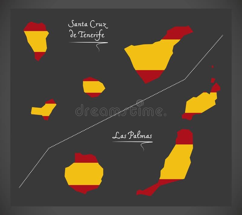 Tenerife y la isla del Las Palmas trazan con la bandera nacional española IL stock de ilustración