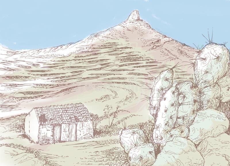 Teneriffa. Verlassenes Bauernhaus am Berg in Teneriffa vector illustration