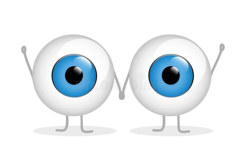Tenersi per mano felice di due occhi azzurri illustrazione vettoriale