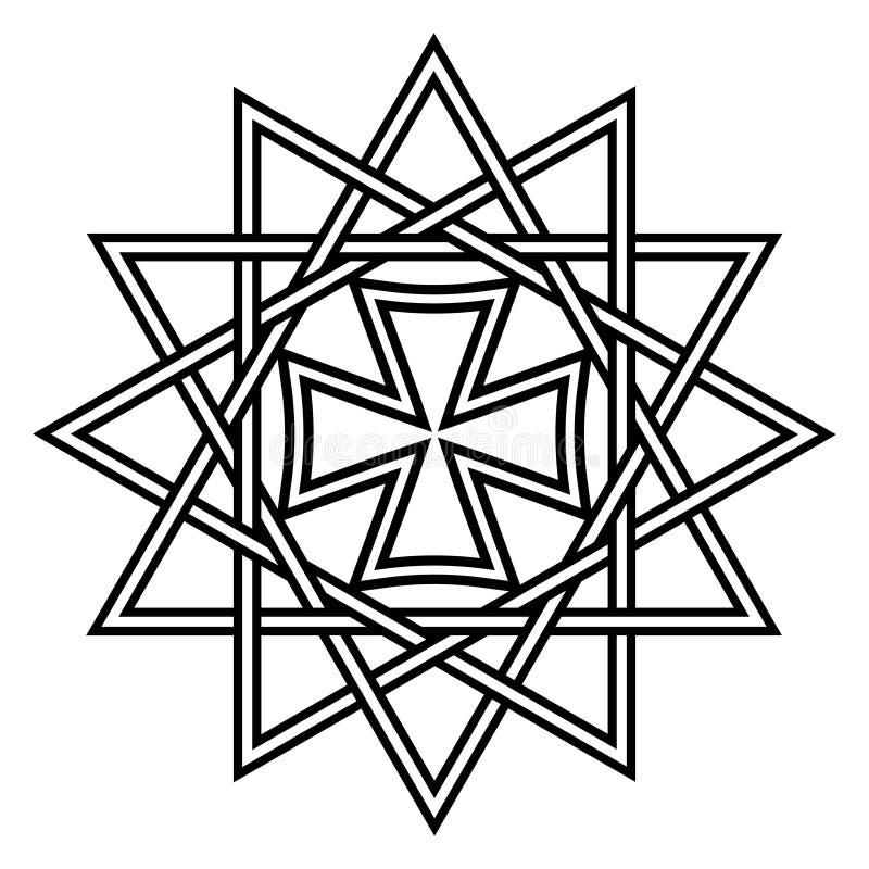 Tenez le premier rôle Ertsgamma, symbole religieux de talisman chrétien antique d'amulette d'étoile dirigé par 12 chanceux, talis illustration libre de droits