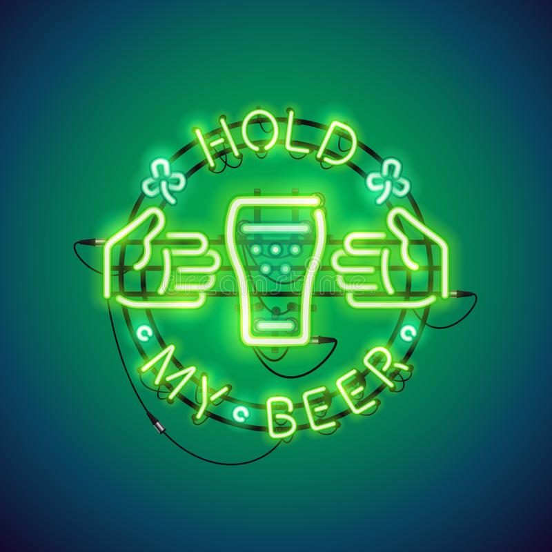 Tenez mon vert d'enseigne au néon de bière illustration de vecteur