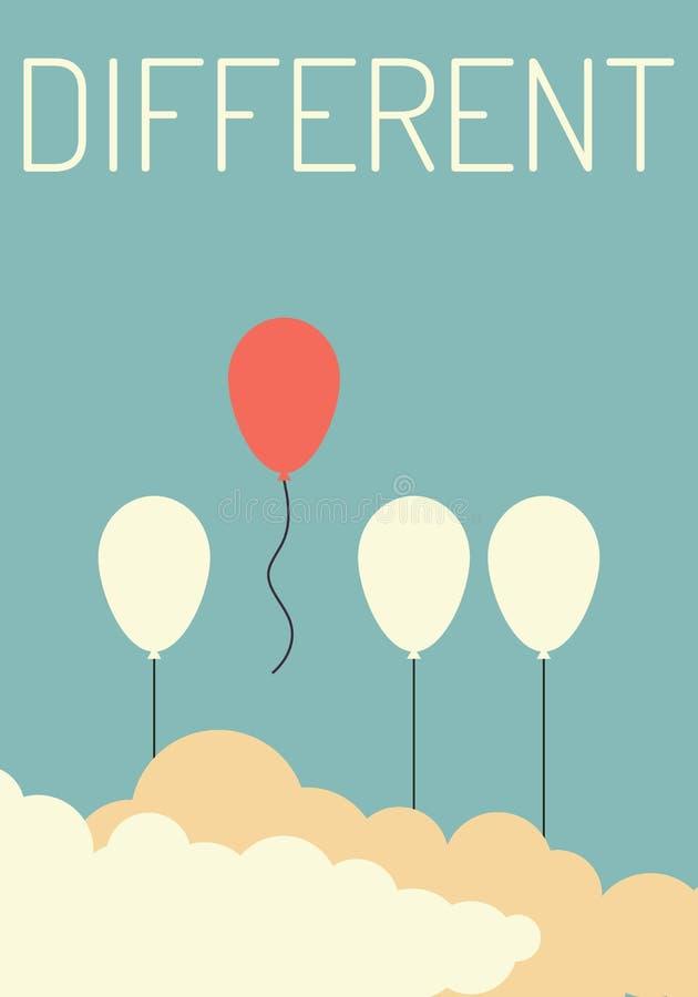 Tenez-vous de la foule et du concept différent, un vol rouge de ballon à partir d'autres ballons blancs illustration stock