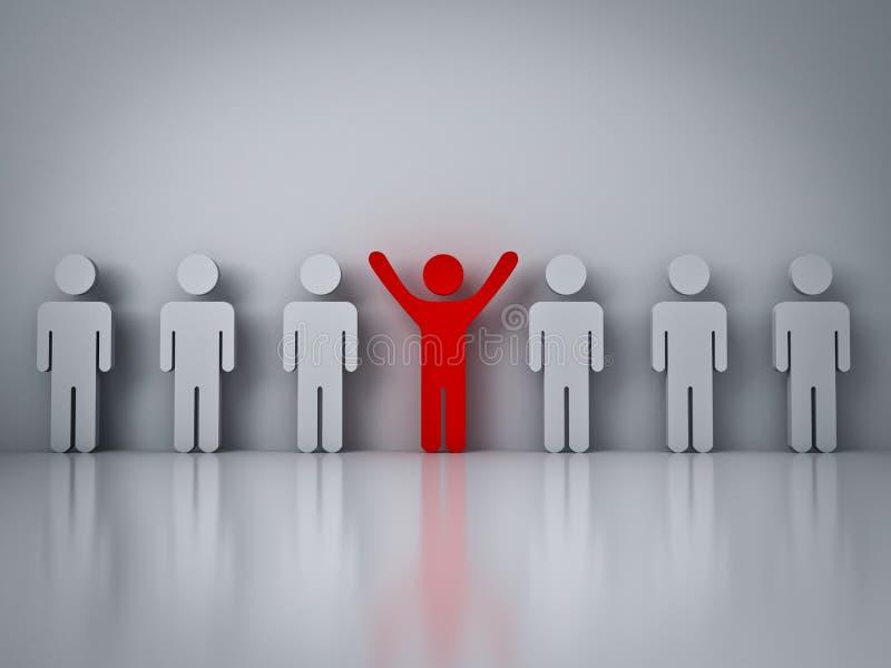 Tenez-vous de la foule ou du concept différent, homme rouge se tenant avec des bras grands ouverts dans le groupe illustration libre de droits