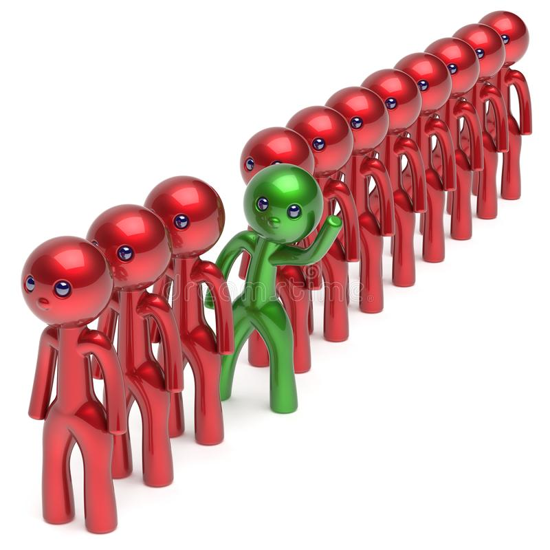 Tenez-vous du caractère différent de personnes de foule rouge bonjour illustration libre de droits