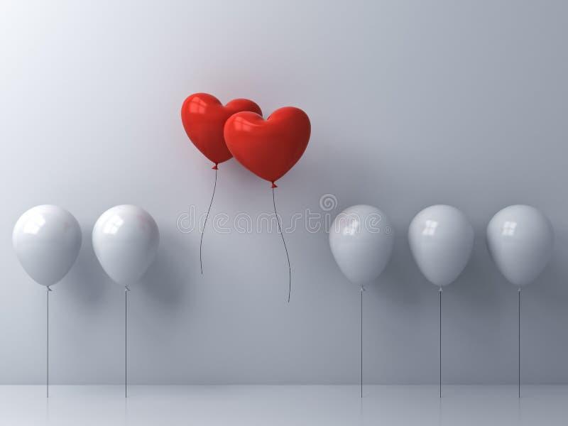 Tenez-vous du vol rouge de ballons de forme de coeur de foule et différents d'idée deux créatifs loin ensemble des ballons blancs illustration de vecteur