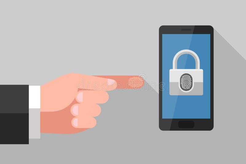 Tenga acceso a los datos personales sobre smartphone usando huella dactilar ilustración del vector