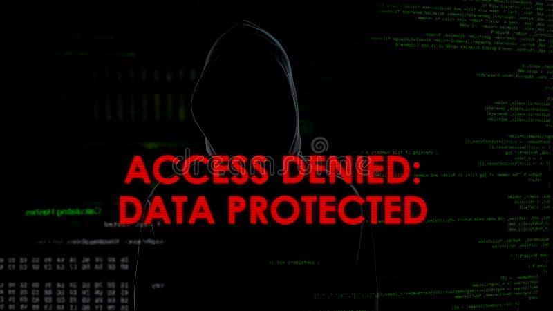 Tenga acceso negó los datos protegidos, tentativa que corta fracasada en el servidor, fracaso foto de archivo