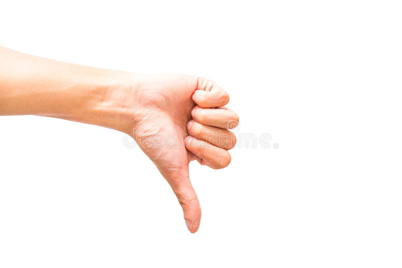 Tenga aversión o manosee con los dedos abajo de muestra de la mano en fondo del aislante imagen de archivo