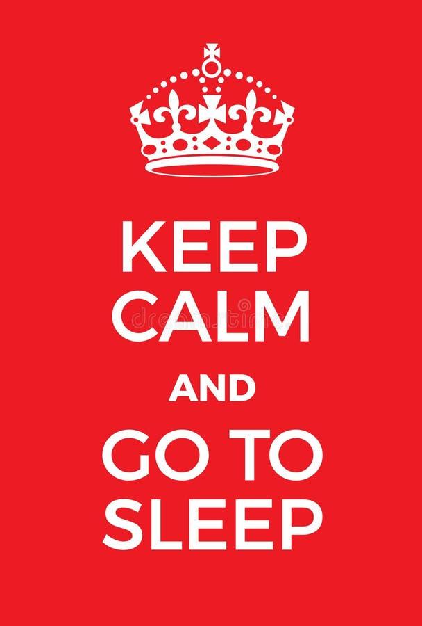 Tenga calmo e vada a dormire il manifesto illustrazione di stock
