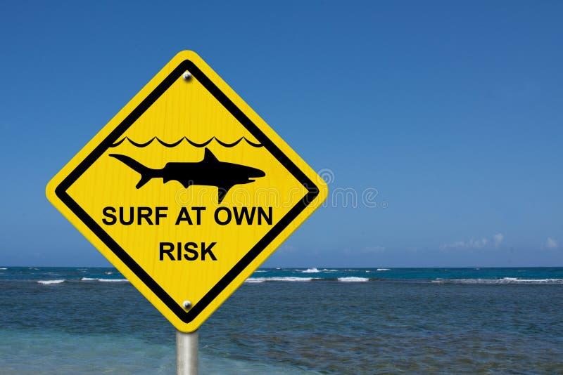 Tenga cuidado al practicar surf porque los tiburones están presentes fotos de archivo
