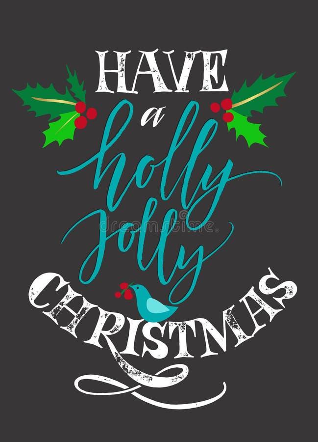 Tenga Holly Jolly Christmas stock de ilustración
