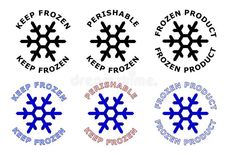 Tenga il segno congelato Simbolo del fiocco di neve con testo intorno  Il nero, w royalty illustrazione gratis