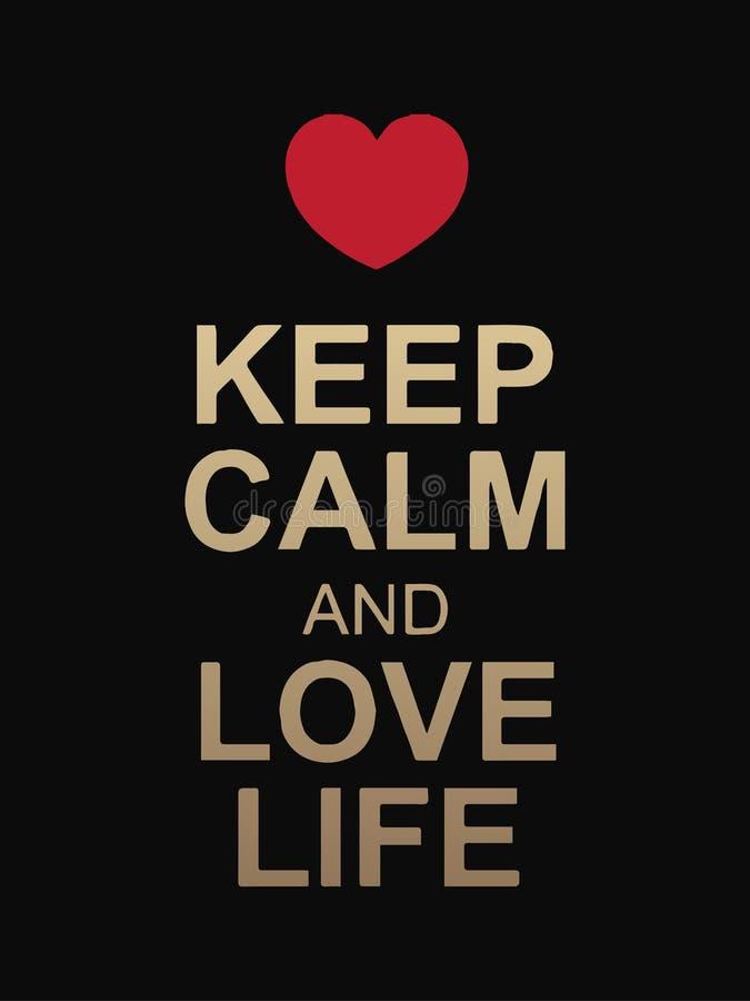 Tenga il testo di vita sentimentale e di calma isolato su fondo nero Cuore rosso sopra il testo Disegno di vettore Valentine' royalty illustrazione gratis